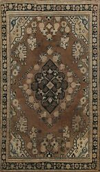 Antique Geometric Traditional Area Rug Hand-knotted Oriental Foyer Carpet 4x6