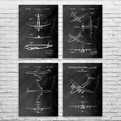 Airplane Patent Posters Set Of 4 Flight School Art Air Force Gift Pilot Gift