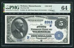 1882 5 Db The First Nb Of Webster, Ma National Currency Ch. 2312 Pmg Unc-64