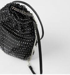 NWT Zara Women's Black Bucket Bag With Rhinestones $24.99