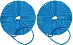 2 Pack 3/4 Inch 25 Ft Double Braid Nylon Mooring Rope Boat Dock Line Blue Ropes
