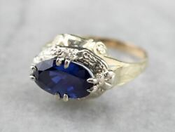 Retro Sapphire Two Tone Gold East To West Ring