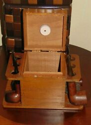 Vintage Aztec Wooden Tobacco Pipe stand/rack Humidor Box+5 Pipes