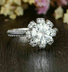 Floral Crown Queen Engagement Ring 2.70ct Round D/vvs1 Diamond 14k White Gold