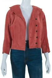 Louis Vuitton Calfskin Motorcycle Suede Leather Coral Jacket Button Front Sz 36