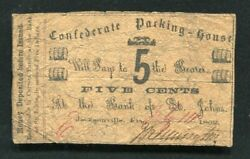 1862 5 Five Cents Confederate Packing House Jacksonville, Fl Obsolete Scrip Note