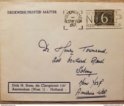 I 1957 Nederland, Brown Stamp, Circulated Cover From Nederland To Solvay, New