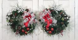 Christmas Evergreen Pair Of Wreaths For Double Doors Elegant Classic Large New