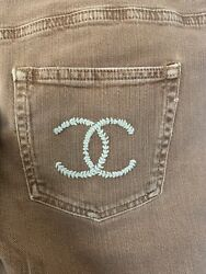 Auth Rust Brown With Logo Cc Skinny Straight Jeans Pants Size 42