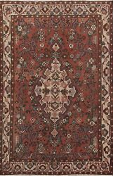 Antique Geometric Traditional Area Rug Wool Hand-knotted Oriental Carpet 5x7 Red