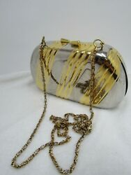 Vintage Nordstrom Metal Evening Bag Gold and Silver Chain Clasp 5.5quot; $29.99