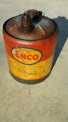Vintage 1967-1972 Enco Esso / Exxon Oil Gas Can Humble Oil And Refining Co