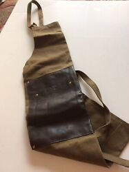Gorgeous Williams Sonoma Leather And Canvas Apron Chef Bbq Gourmet Cook