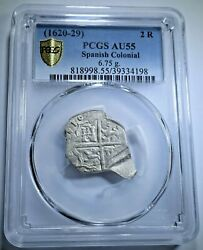 🔥 1 Of 1 Pcgs Au-55 1600s Spanish Silver 2 Reales Two Bits Pirate Cob Coin🔥