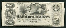 1800's 1 The Bank Of Augusta Georgia Obsolete Currency Note Remainder Au