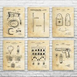 Police Station Patent Posters Set Of 6 Officers Hat Law Enforcement Art Wall Art