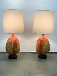 2 Two Mid Century Modern Monumental Drip Glaze Volcanic Lamps New Shades, Mcm