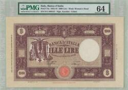 Pmg 64 Italy 1943-1944 Banknote 1000 Lire
