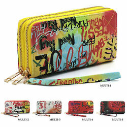 Multicolored Graffiti Effect Quilted Double Zip Around Cluch Wallet Wristlet $15.50
