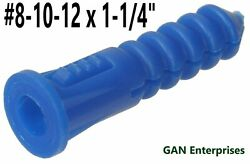 Blue Ribbed Plastic Anchors 8-10-12 X 1.25 With Or Without 10 X 1 Screws