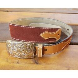 Crumrine Women's Bronze Buckle With Circle Y Belt Leather Suede Vintage