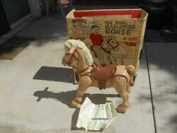 Orig Vintage 1967 Marx Toy Marvel The Mustang Horse Ride Orig Box And Instruction