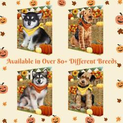 Fall Autumn Greeting Dog Cat Pet Lovers Canvas Wall Art Décor 16x20 In