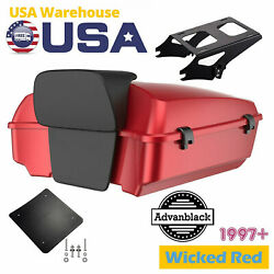 Wicked Red Chopped Tour Pack 2-up Mounting Bracket Rack For 97+ Harley Touting