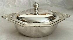 Elegant Solid Sterling Silver 800 Two-handled Covered Serving Dish/bowl 2 Of 2