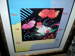 Peter Max - Signed And Numbered - Lithograph - Lady Floating Flowers