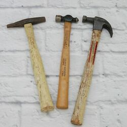Vintage Lot Of 3 Hammers 4oz Ballpeen 10oz Claw And 8oz Tack Hammer