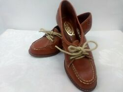 Vintage Nobil's Women's Shoes Brown Leather Wooden Heel Lace-up Size 5.5b