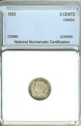 Canada 1893 Silver 5 Cents Appears A Beautiful Extra Fine Antique Silver ....