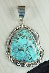 Turquoise And Sterling Silver Pendant - Leslie Nez