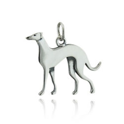Detailed Greyhound Dog Charm 925 Sterling Silver Small Flat Polished Pet Gift