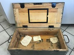 Vintage 1943 Wwii Army Military Footlocker Uniform Shipping Chest.worcester Mass