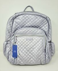 Nwt Vera Bradley Iconic Campus Backpack Bag Lavender Pearl Quilted Metallic 145