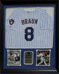Ryan Braun Milwaukee Brewers Autographed Jersey Matted In A Premium30x34 Frame