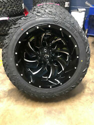 22x12 Fuel D574 Cleaver Black Wheels 35 Mt Tires Package 5x5 Jeep Gladiator Jt