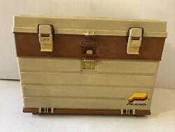 Vintage Plano 757 Tackle Box Beige And Brown W/top Storage And 1 Drawer Fishing Box