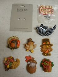 Vintage Hallmark Cards Fall Thanksgiving Lot Of 8+card Pins Brooches