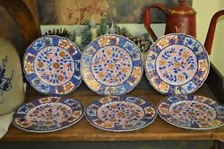 6 Atq Derby Hand Painted China Plates Blue Gold Floral Scalloped Edge Crown Mark