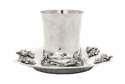 Fine Italian 925 Sterling Silver Handmade Footed Pomegranate Applique Cup And Tray