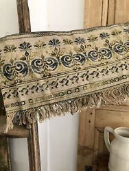 Vintage French cross stitch heraldic TAPESTRY VALANCE cantonnière FRINGES c1930