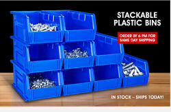 Uline Stackable Industrial Stack And Hang Plastic Bins Multiple Sizes/colors 12pcs