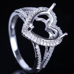 Vintage Antique Semi Mount Ring 0.3ct Diamond Solid 18k White Gold 10x10mm Heart