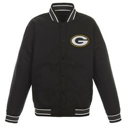 Green Bay Packers Poly Twill Varsity Jacket With Team Logo On Back - Nfl - Men