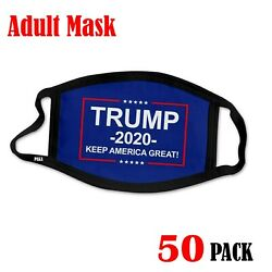 50 Pack -trump Face Mask - Trump 2020 Face Protection Keep America Great New