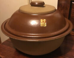 Vintage 1950s Haeger Pottery 8231 Usa Brown And Tan 3 Quart Casserole W/lid