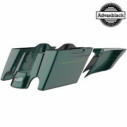 Deep Jade Pearl Stretched Saddlebag Extended Bags Pinstripes For Harley 2014+